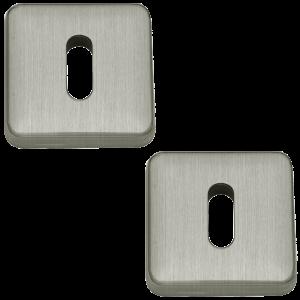 Lugano Open Standard Keyhole Escutcheons Satin Nickel