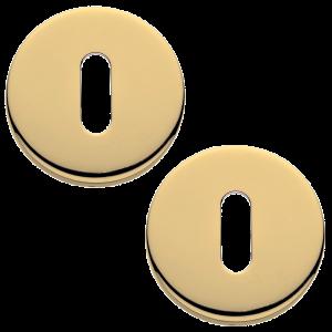 Garda Open Standard Keyhole Escutcheons Polished Brass