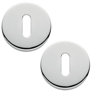 Garda Open Standard Keyhole Escutcheons Polished Chrome