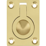 50mm x 63mm Flush Ring Cabinet Pull Handle Polished Brass