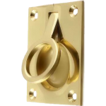 50 x 63 Flush Ring Pull Handle Polished Brass
