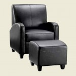 Club Chair with Stool Black