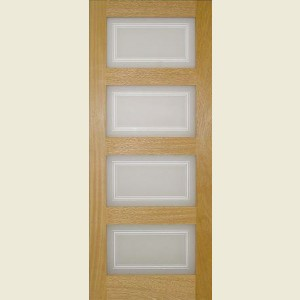 Oak Contemporary Four Panel Glazed Doors