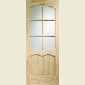 Clear Pine Riviera Six Light Glazed Doors