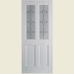 Canterbury Two Light Diamond Glazed Doors White