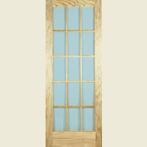30 x 78 SA Clear Pine 15 Light Glazed Door