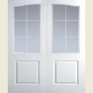 Manhattan Twelve Light Arch Top Clear Glazed Textured Door Pairs