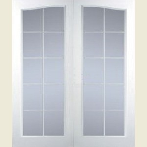 Manhattan Twenty Light Arch Top Clear Glazed Textured Door Pairs