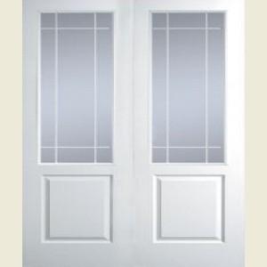 47.5 x 78 Manhattan Half-Light Clear Glazed Smooth FD30 Double Doors