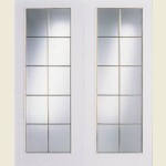 1240 x 2040mm Ontario 20-Light Glazed Brass-Bars Smooth Double Doors