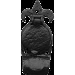 Fleur De Lys Night Latch Cylinder Door Pull Antique Black