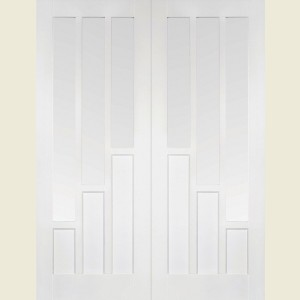 Coventry White Primed Glazed Double Door Pair