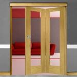 2 Door Pattern-10 Oak Folding Sliding Room Divider Clear Glass
