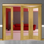 3 Door Pattern-10 Oak Folding Sliding Room Divider Clear Glass