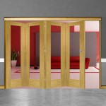 4 Door Pattern-10 Oak Folding Sliding Room Divider Clear Glass