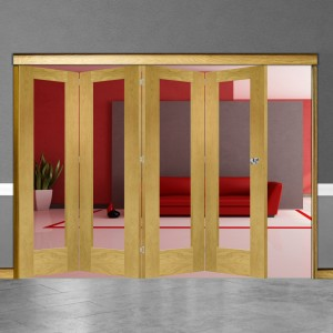 4 Door Pattern 10 Oak Folding Sliding Room Divider Clear Glass