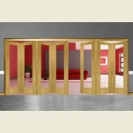 7 Door Pattern-10 Oak Folding Sliding Room Divider Clear Glass