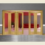 5 Door Pattern-10 Oak Folding Sliding Room Divider Clear Glass