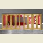 8 Door Pattern-10 Oak Folding Sliding Room Divider Clear Glass