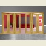 6 Door Pattern-10 Oak Folding Sliding Room Divider Clear Glass