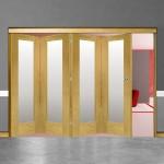 4 Door Pattern-10 Oak Folding Sliding Room Divider Obscure Glass