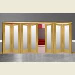 7 Door Pattern-10 Oak Folding Sliding Room Divider Obscure Glass