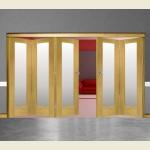 5 Door Pattern-10 Oak Folding Sliding Room Divider Obscure Glass