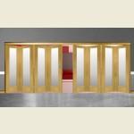 8 Door Pattern-10 Oak Folding Sliding Room Divider Obscure Glass