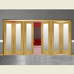 6 Door Pattern-10 Oak Folding Sliding Room Divider Obscure Glass