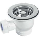 60mm Stainless Steel Basket Strainer Waste With Overflow Connector