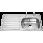 British Standards Single Bowl Sink LHD 2 Taps