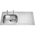 British Standards Single Bowl Sink RHD 2 Taps