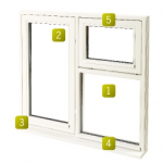 1200 x 1050 Cotswold Glazed Fully Finished White Casement Vent Fush Window LH