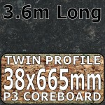 Axiom Avalon Granite Black Etched Narrow Breakfast Bar 3.6m